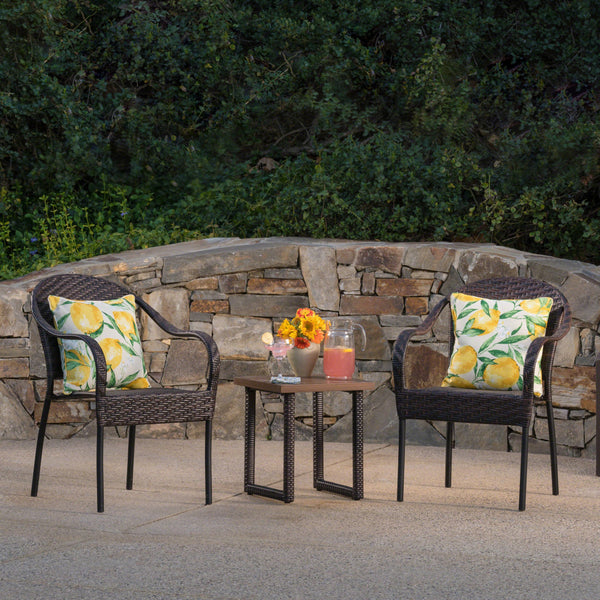 Colbin Outdoor 3 Piece Wicker Chat Set With Finished Aluminum Table And Wicker Legs