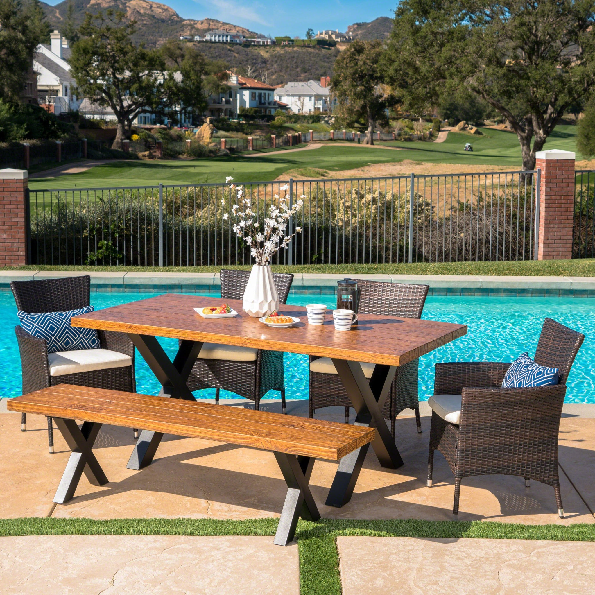 Englewood Outdoor 6 Piece Wicker Dining Set With Finish Concrete Table And Bench And Water Resistant Cushions
