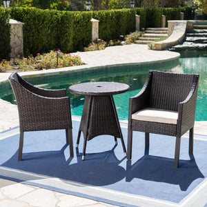 Foster Outdoor 3 Piece Wicker Round Dining Set With Water Resistant Cushions
