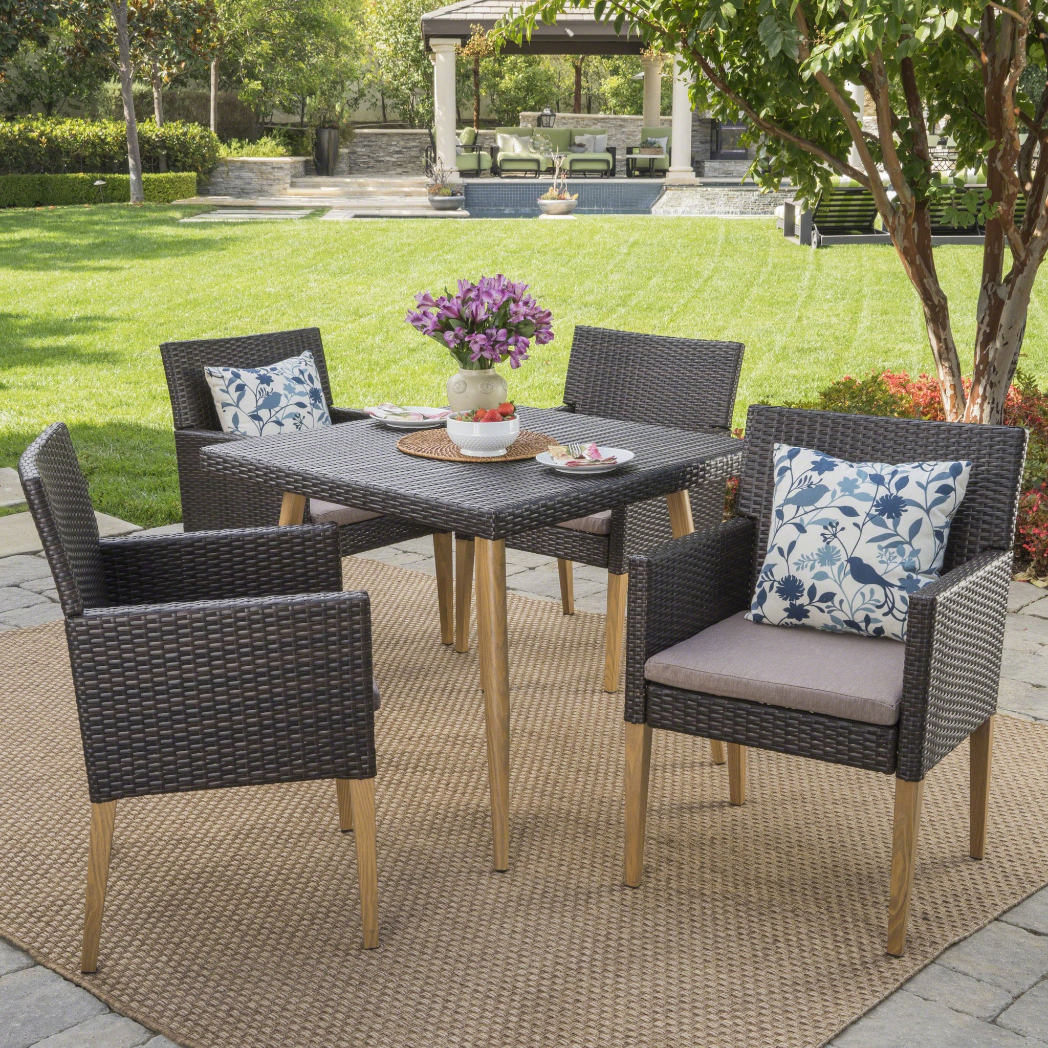 Dree Outdoor 5 Piece Wicker Square Dining Set With Water Resistant Cushions And Wood Finished Metal Legs