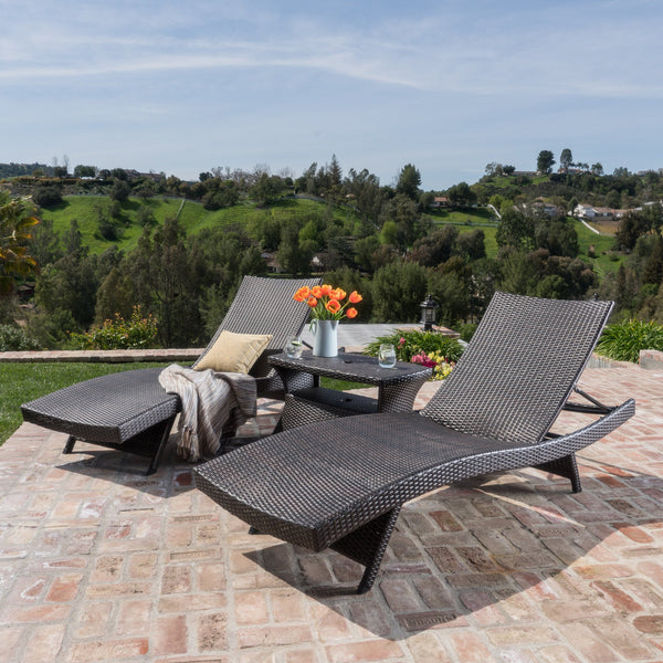 Oyabe Outdoor 3 Piece Mutli Wicker Chaise Lounge Set With Lounge Table