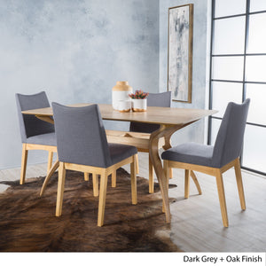 Dia Fabric And Wood Dining Set