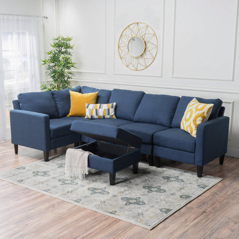 Yuny Fabric Sectional Couch With Storage Ottoman