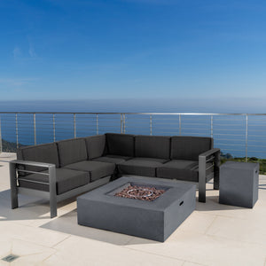 Canobie Outdoor Aluminum 5 Piece V-Shape Sectional Sofa Set With Water Resistant Cushions And Fire Table
