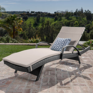 Sagan Outdoor Wicker Armed Chaise Lounge With Water Resistant Cushion