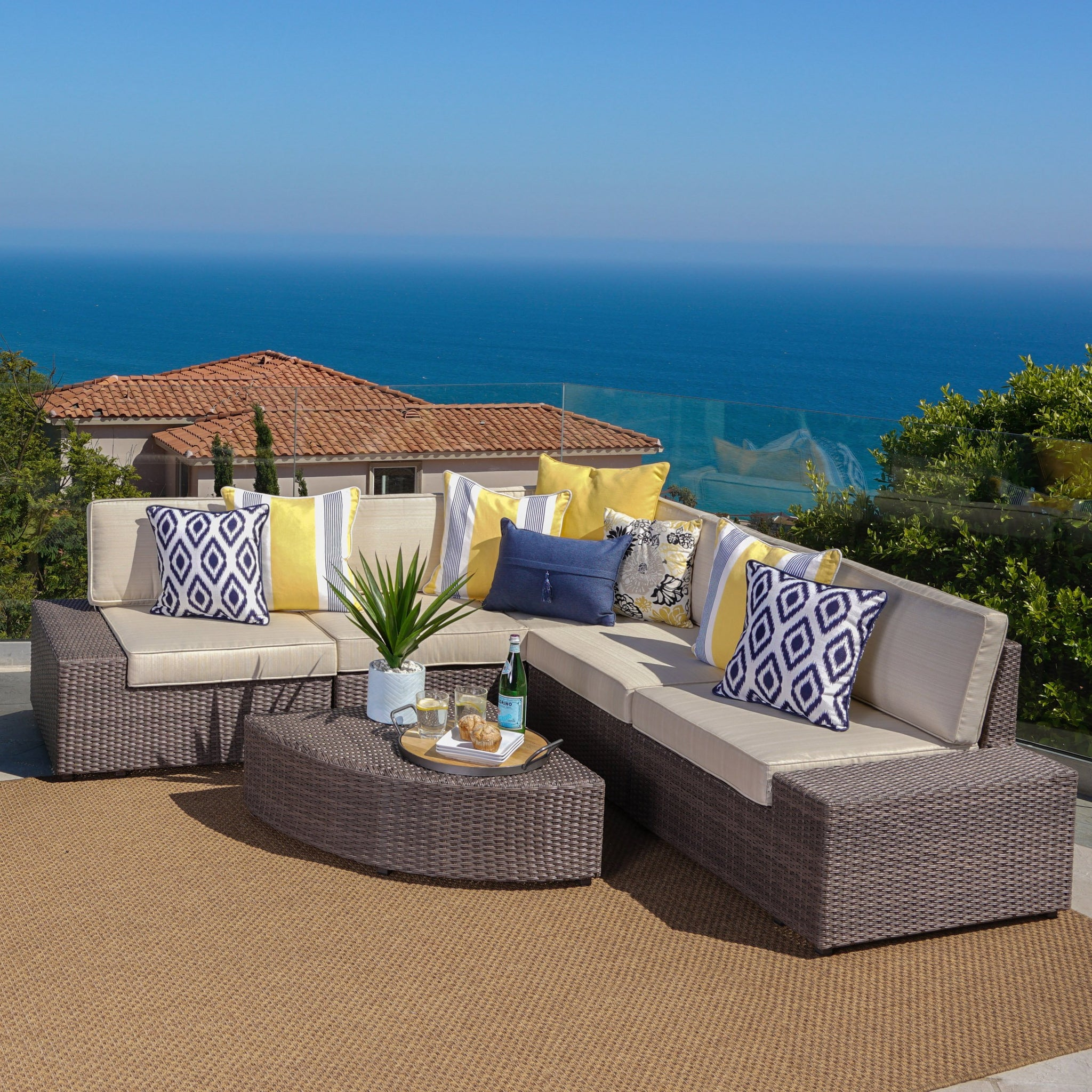 Groovy Sanger Outdoor 6 Piece Wicker Sectional Sofa Set With Water Onthecornerstone Fun Painted Chair Ideas Images Onthecornerstoneorg