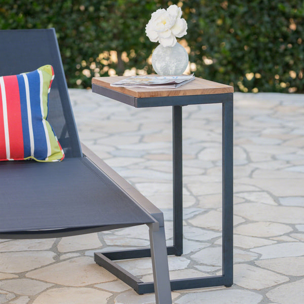 Kodiak Outdoor Antique Firwood C-Shaped Accent Table