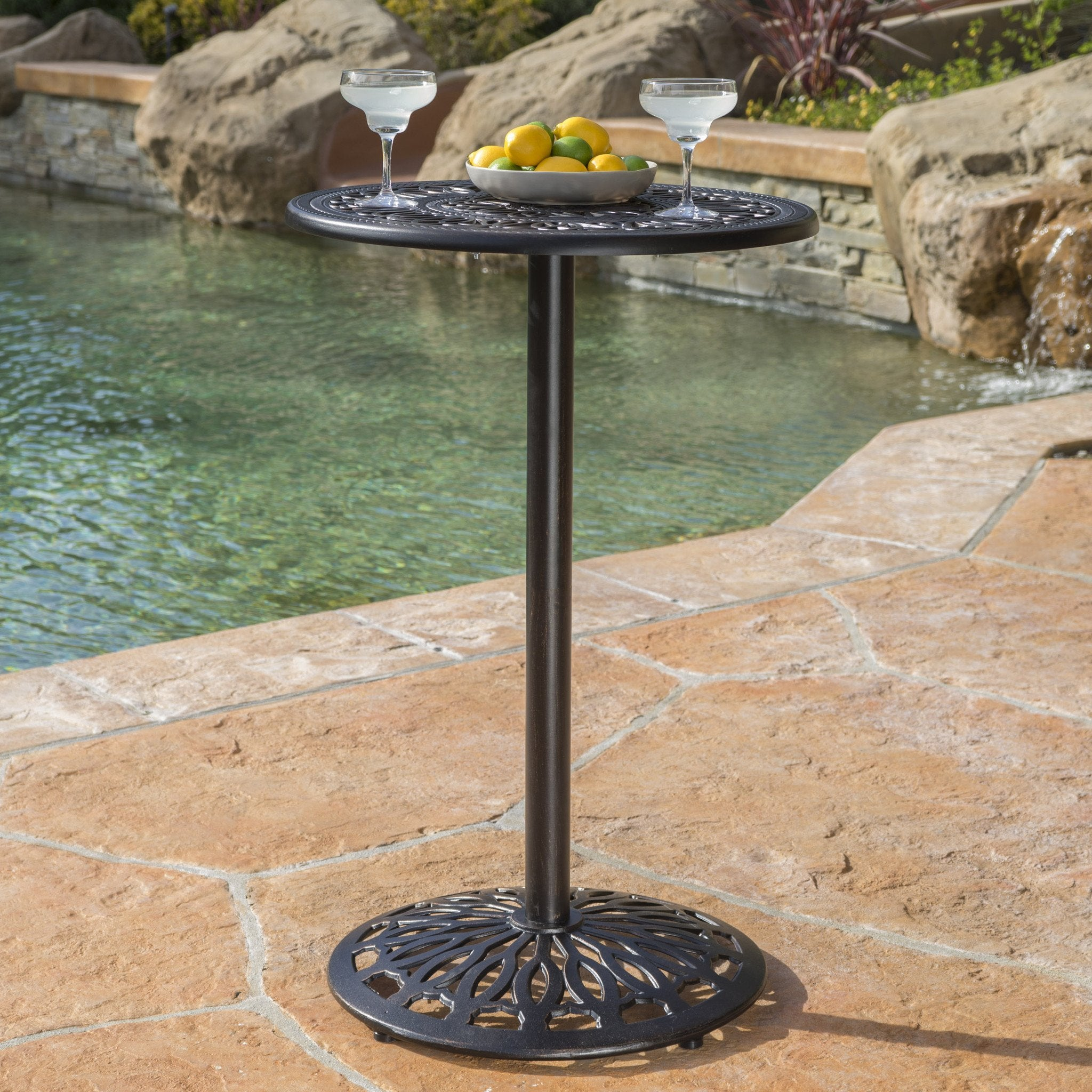 Edgar Outdoor Iron Shiny Copper Cast Bar Table