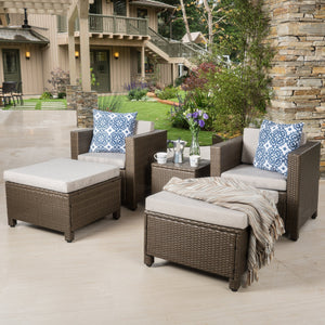 Preston Outdoor 5 Piece Wicker Chat Set With Ceramic Water Resistant Cushions