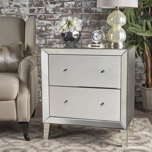 Jennings Finished Mirrored 2 Drawer Cabinet With Faux Wood Frame