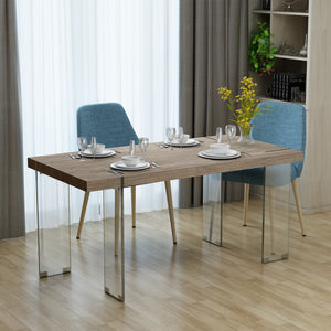 Michaelo Modern Sonoma Faux Wood Dining Table With Clear Tempe Glass Legs