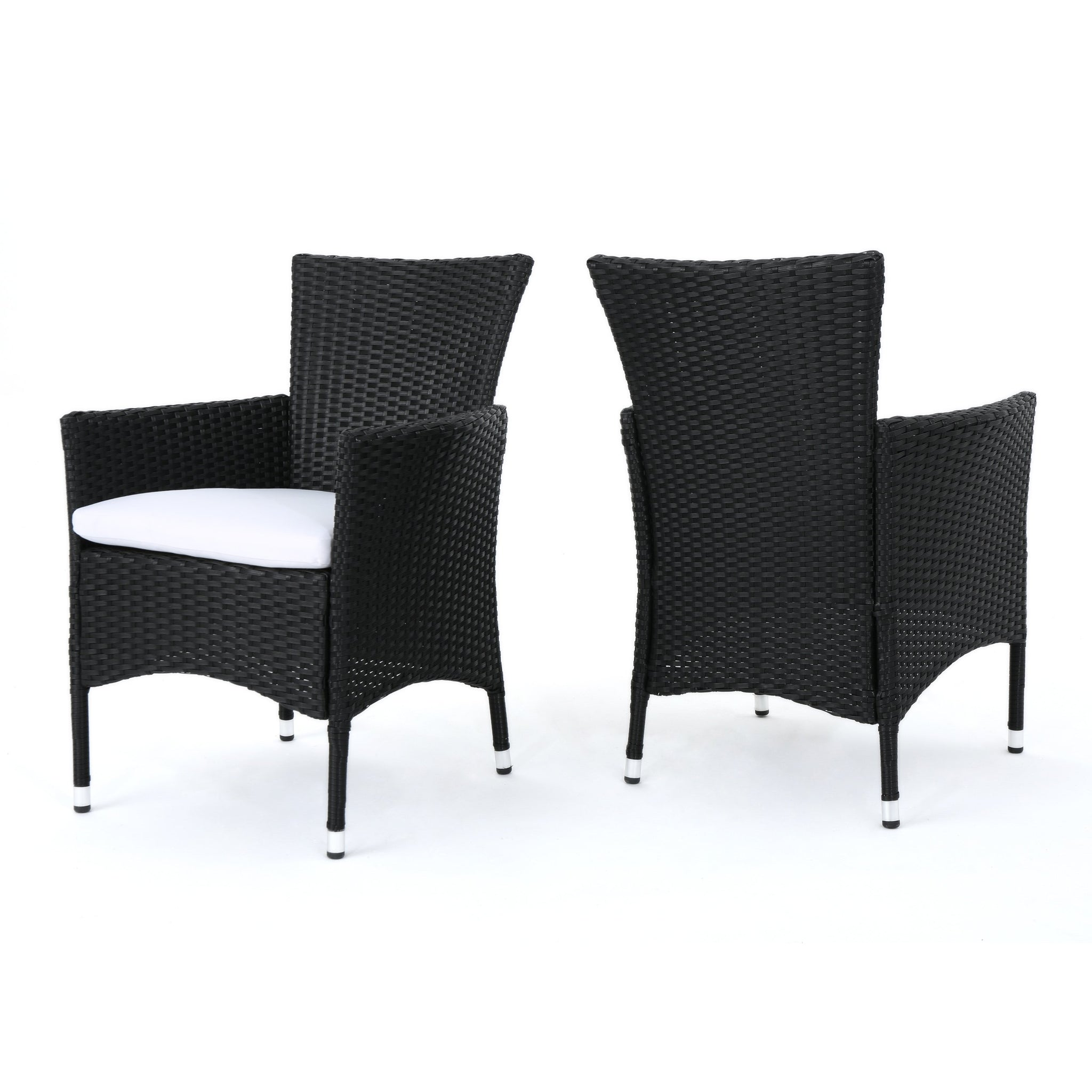 Malick Outdoor Wicker Dining Chairs With Water Resistant Cushions (Set Of 2)