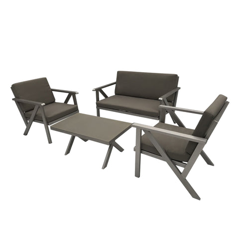 Palmers Outdoor 4 Seater Aluminum Chat Set With Water Resistant Cushions