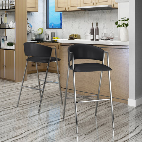 Mark Modern Leather 28.25 Inch Barstool (Set Of 2)