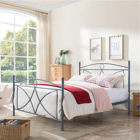 Dellwood Classical Matte Finished Iron Queen Bed Frame