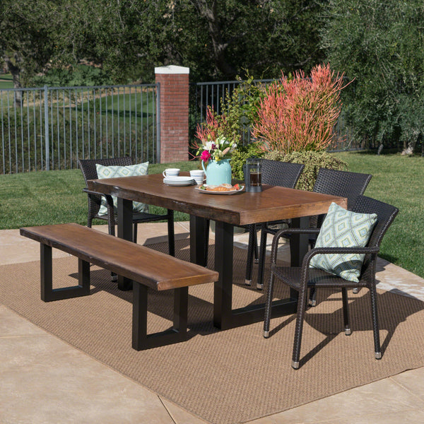 Bermuda Outdoor 6 Piece Stacking Wicker Dining Set With Antique Teak Finish Concrete Table And Bench