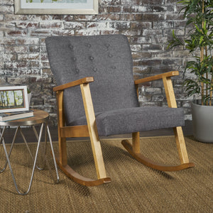 Harrison Mid Century Modern Fabric Rocking Chair