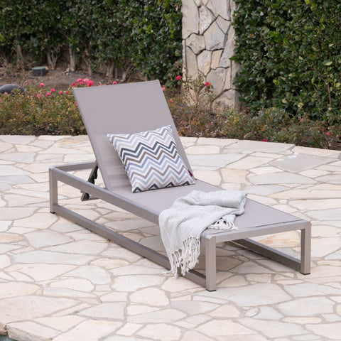 Calendra Outdoor Mesh Chaise Lounge With Aluminum Frame
