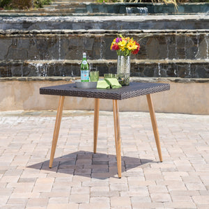 Della Teak Outdoor Square Wicker Dining Table With Metal Legs With Wood Finish