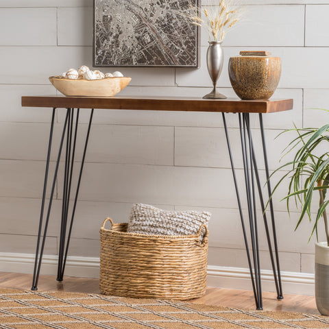 Regina Natural Finish Firwood Faux Live Edge Console Table