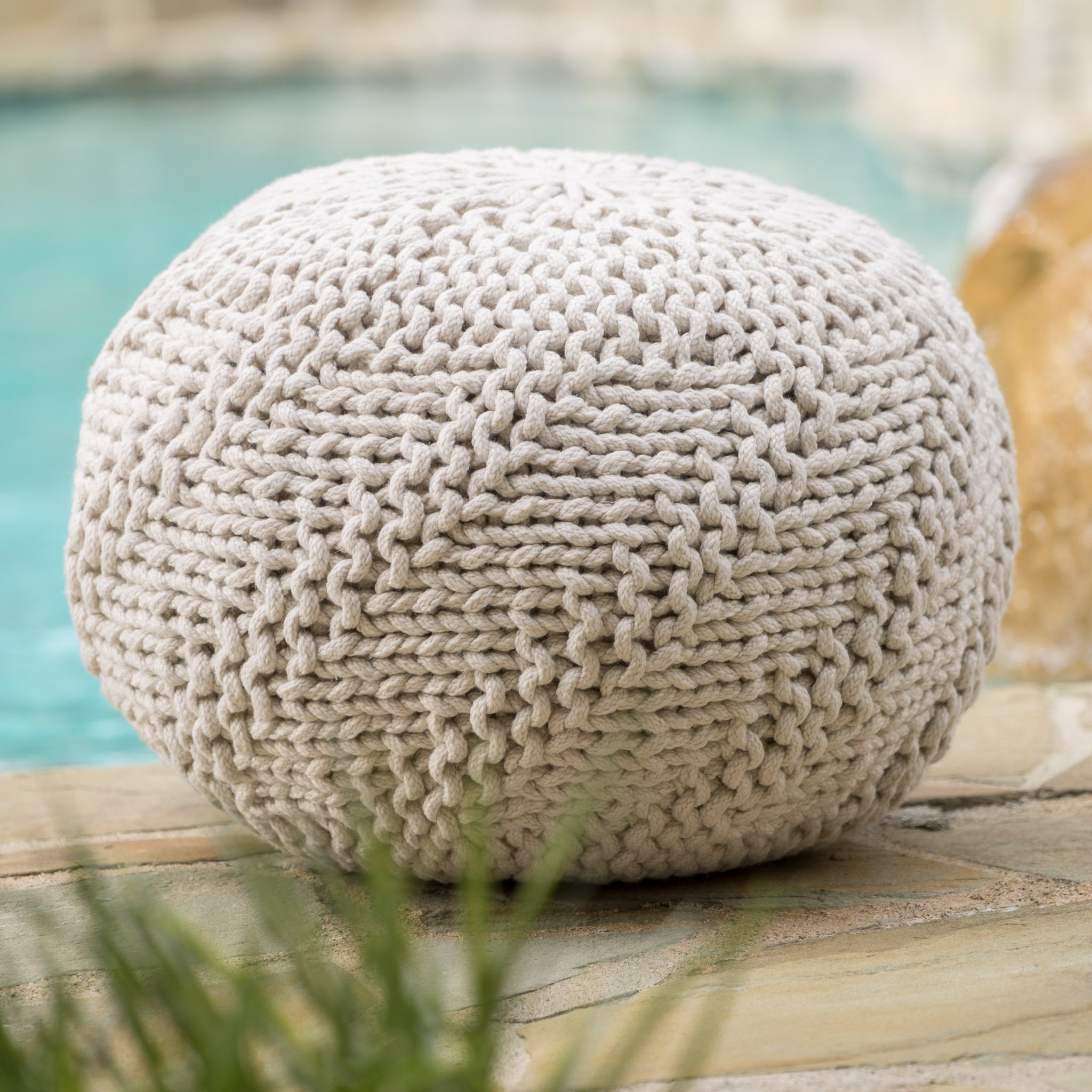 Arellano Outdoor Fabric Weave Pouf