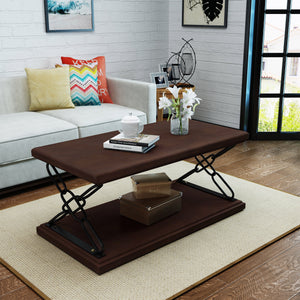 Midvale Industrial Finished Faux Wood Coffee Table With Iron Accents