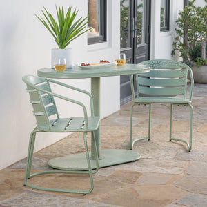 Santa Ana Outdoor 3 Piece Crackle Finished Iron Bistro Set