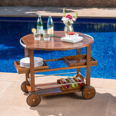 Tiburon Outdoor Acacia Wood Bar Cart With Shiny Powder Coated Aluminum Accents