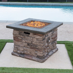 Stella Outdoor Natural Stone Finished Square Fire Pit