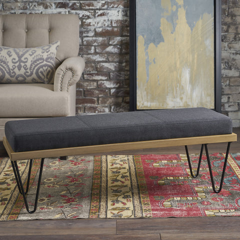 Eliam Industrial Modern Fabric Bench