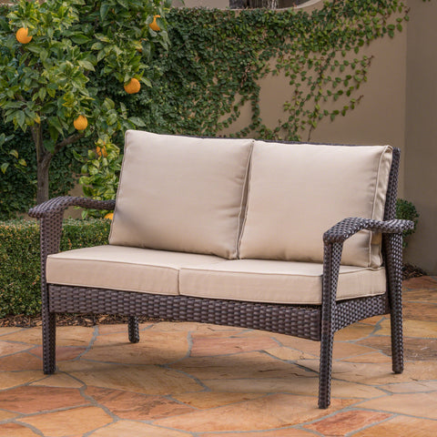 Holloway Outdoor Wicker Loveseat With Tan Water Resistant Cushions
