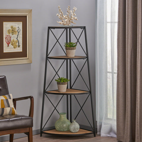 Neely Indoor Industrial Naturally Antique Firwood 3-Tier Corner Shelf With Iron Frame