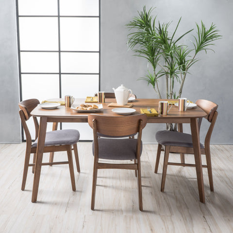"Lucca Fabric/ Natural Finish 60"" Rectangular 5 Piece Dining Set"