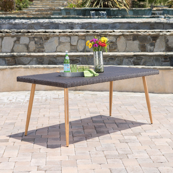 Della Teak Outdoor Wicker Rectangular Dining Table With Faux Wood Finished Legs