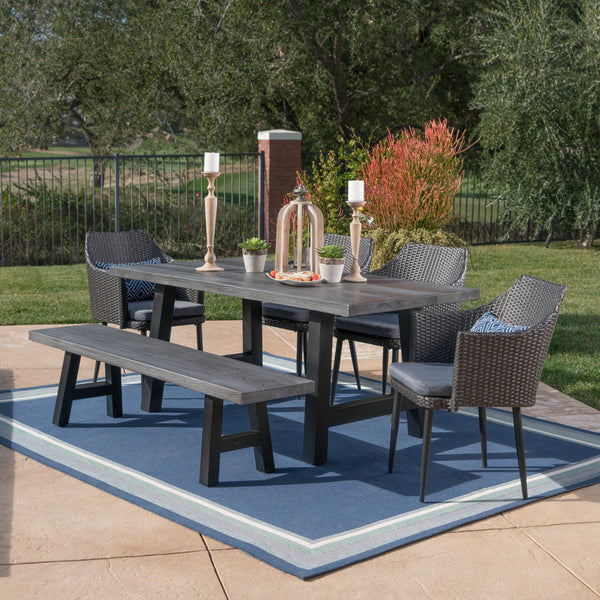 Silvester Outdoor 6 Piece Wicker Dining Set With Natural Finish Concrete Table And Bench And Water Resistant Cushions