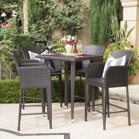 Lamus Outdoor 5 Piece Wicker 32.5 Inch Square Bar Table Set