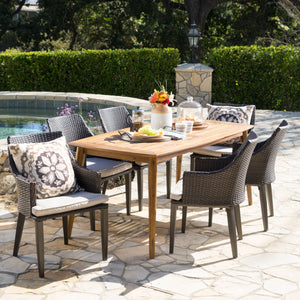Avita Outdoor 7 Piece Wicker Rectangular Dining Set With Teak Finished Acacia Wood Table And Water Resistant Cushions