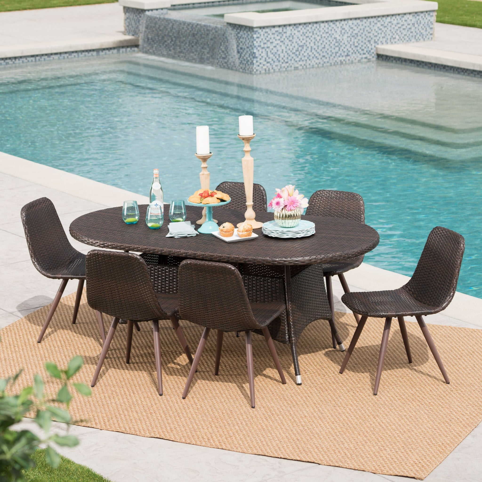 Espen Outdoor 7 Piece Wicker Oval Dining Set