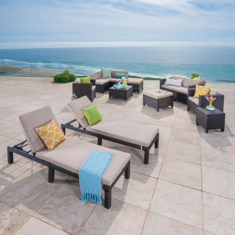 Preston Outdoor 13 Piece Wicker Patio Set With Water Resistant Cushions