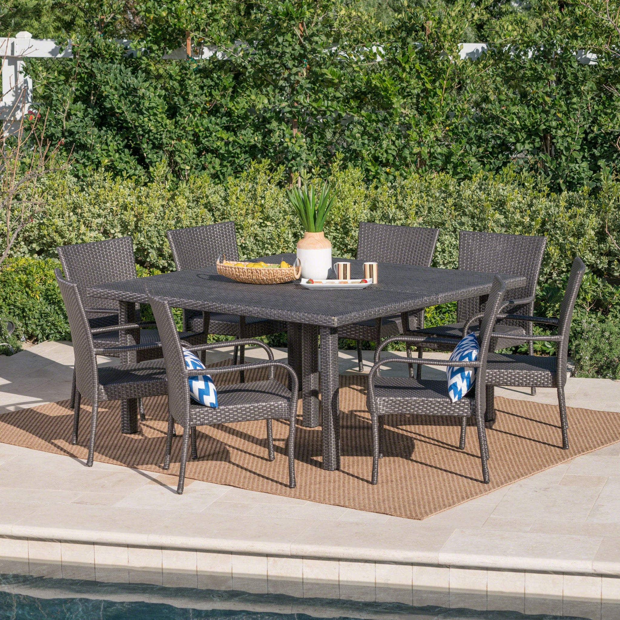 Finbar Outdoor 9 Piece Stacking Wicker Square Dining Set