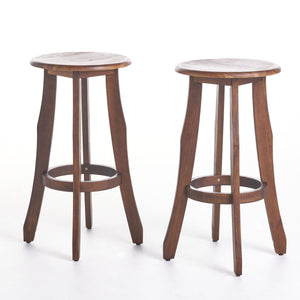 Pia Outdoor Finished Acacia Wood Barstools (Set Of 2)