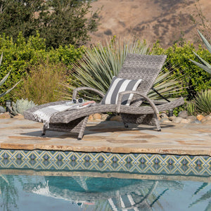 Crema Outdoor Armed Aluminum Framed Wicker Chaise Lounge