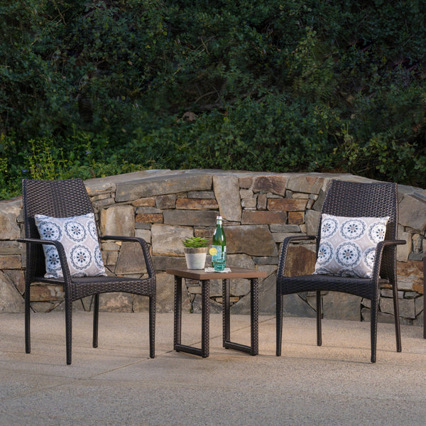Henley Outdoor 3 Piece Wicker Chat Set With Finished Aluminum Table And Wicker Legs