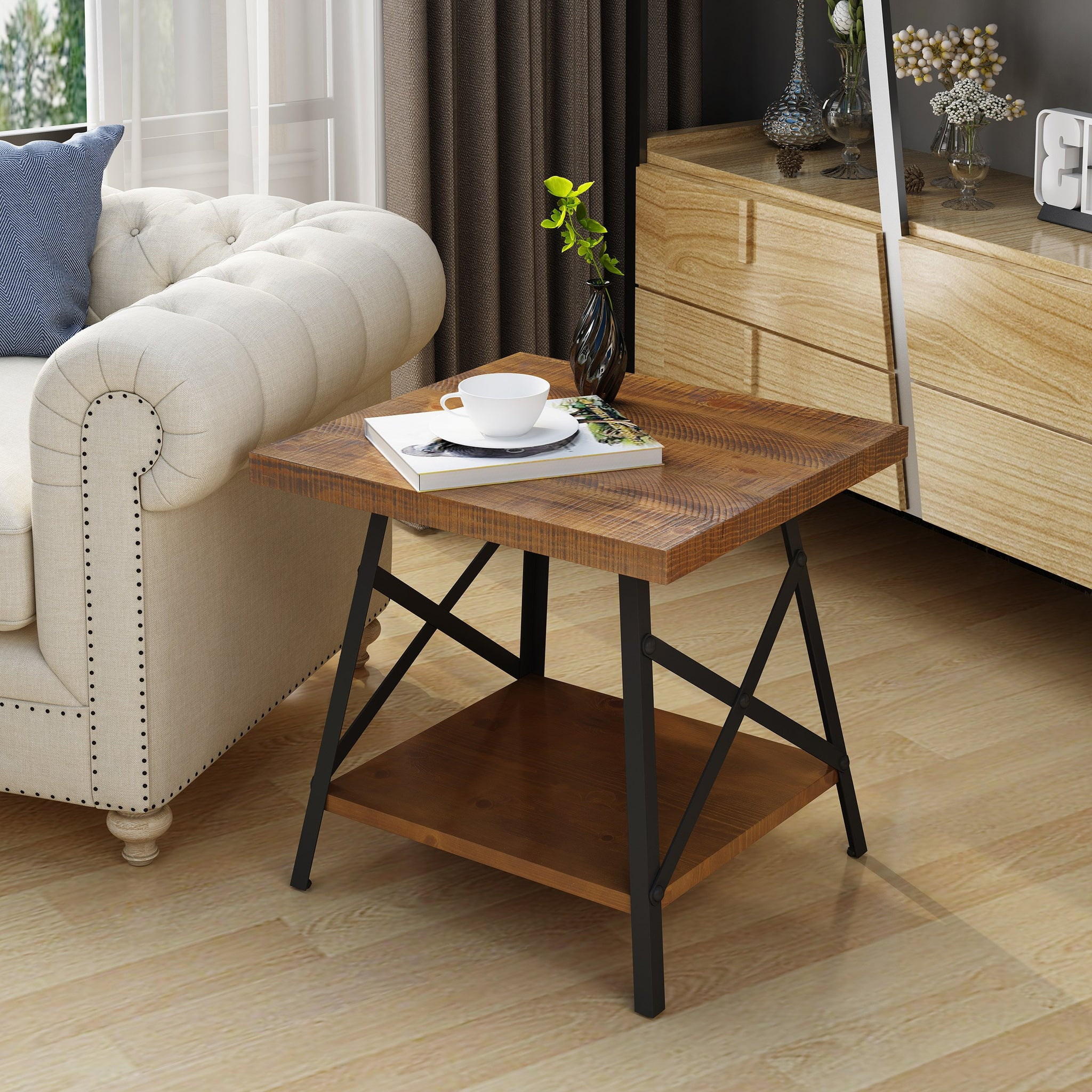Calliope Industrial Natural Finish Faux Wood End Table