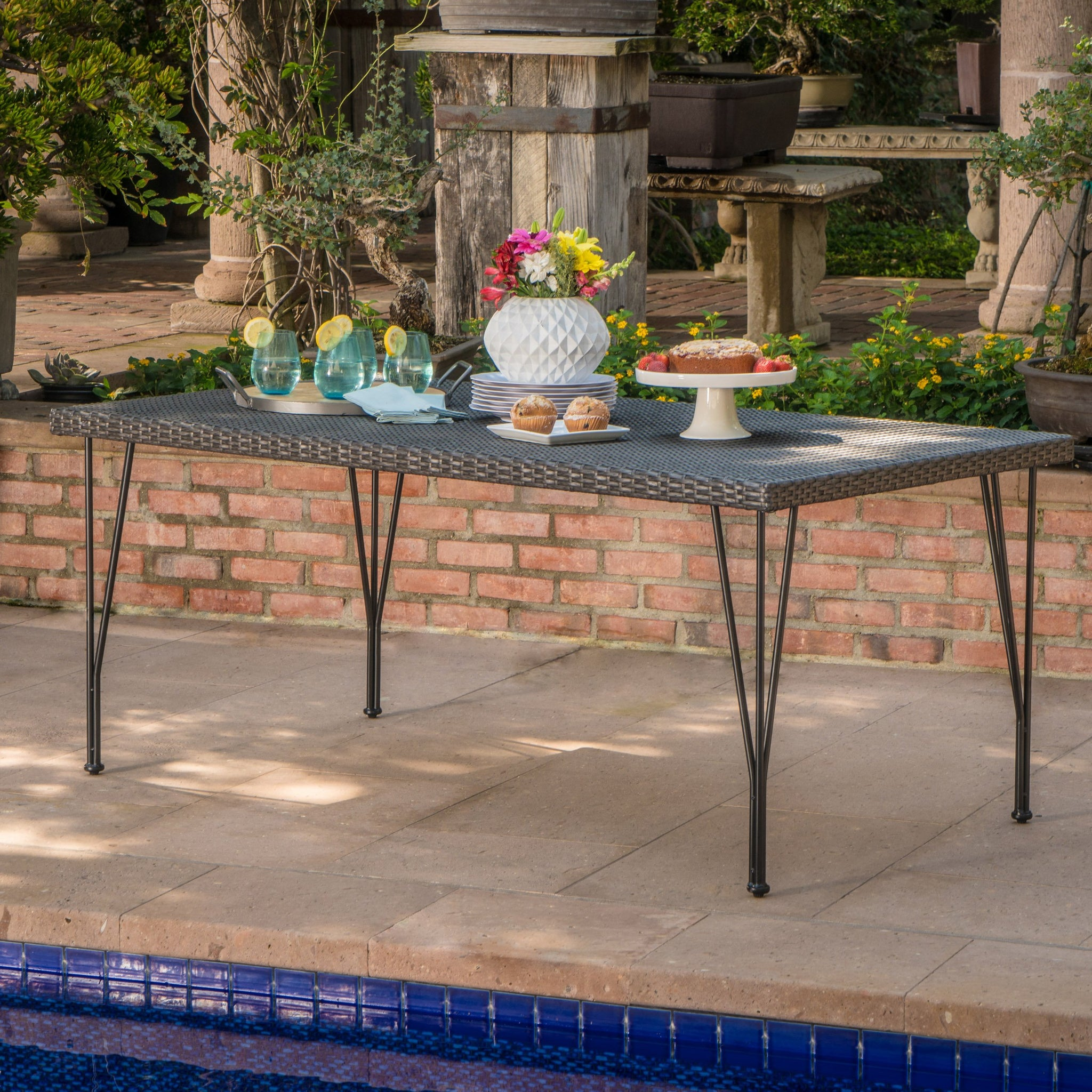 Beasley Outdoor Wicker Rectangular Dining Table With Hair Pin Legs