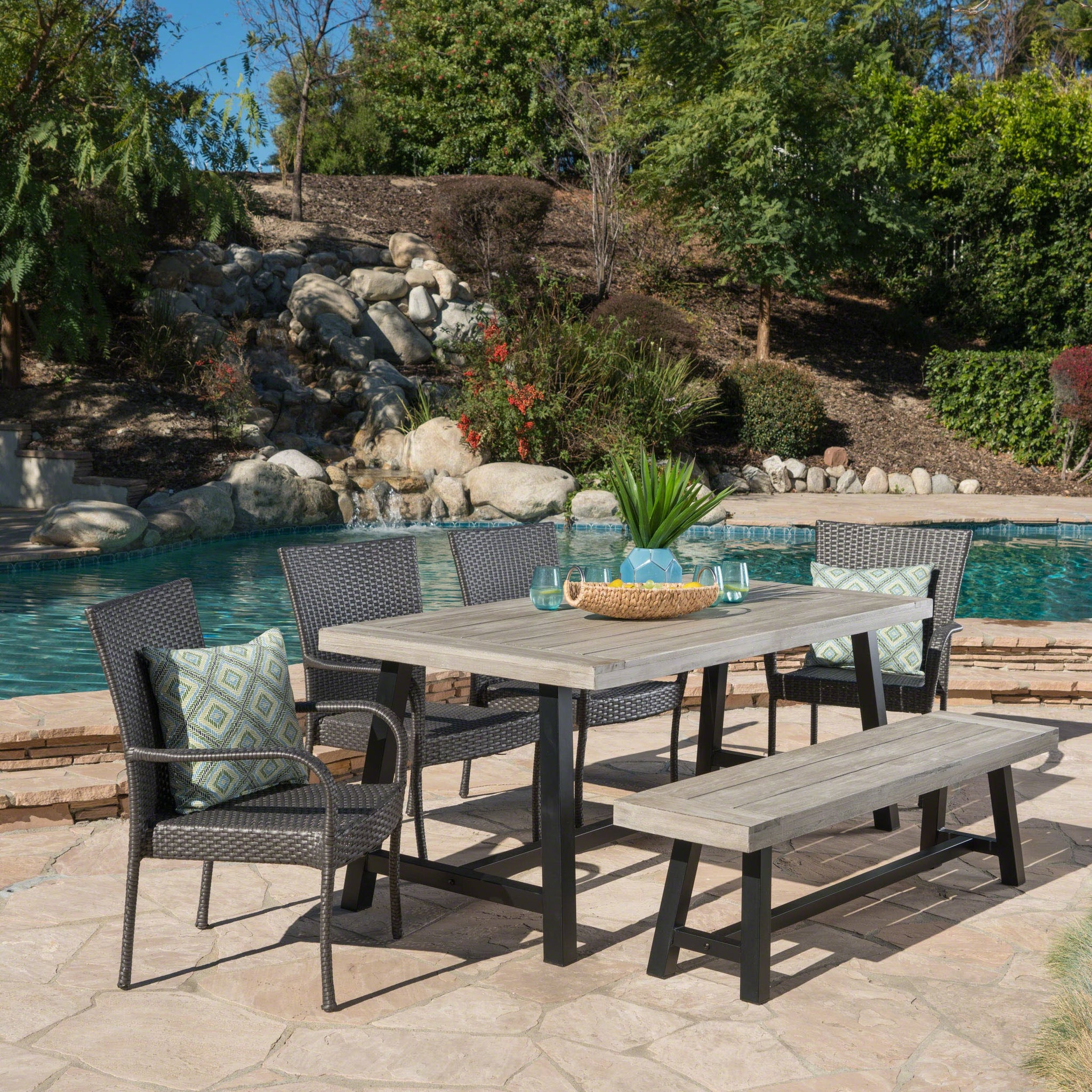 Conrad Outdoor 6 Piece Stacking Wicker Dining Set With Sandblast Finish Acacia Wood Table And Bench