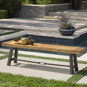 Castine Outdoor Teak Finished Acacia Wood Bench With Rustic Metal Accents
