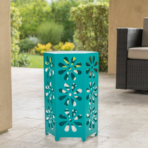 Damie Outdoor 12 Inch Matte Iron Floral Side Table