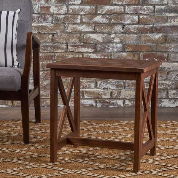 Avery Outdoor Farmhouse Cottage Acacia Wood End Table