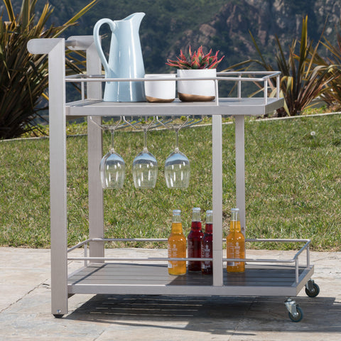 Canobie Outdoor Aluminum Bar Cart With Polymer Blended Wood Top
